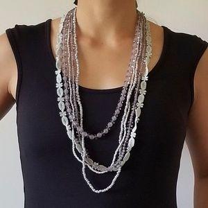 NWT Gray beaded necklace